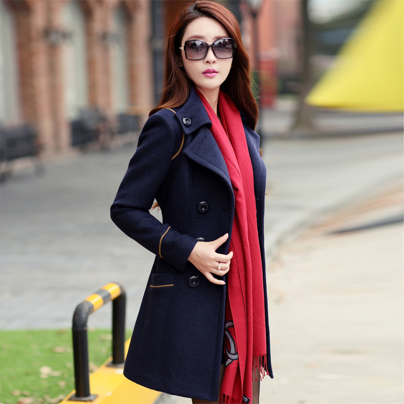 8b1a8c1bb04e ladies winter coats 2015 double breasted trench coat for women wool female  overcoat red winter coat women manteau long femme-in Wool & Blends from  Women's ...