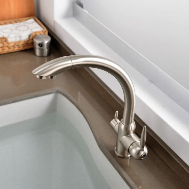 Robinets de cuisine en laiton massif grue pour cuisine filtre à eau purifiée robinet trois voies évier mélangeur 3 voies cuisine robinet ML91-A - 2