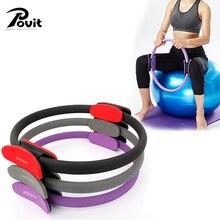 POVIT Pilates Ring Magic Yoga Cirkel EVA Skum Padded Håndtag Pilates Ring For Muskler Krop Træning Yoga Fitness Gym Træning