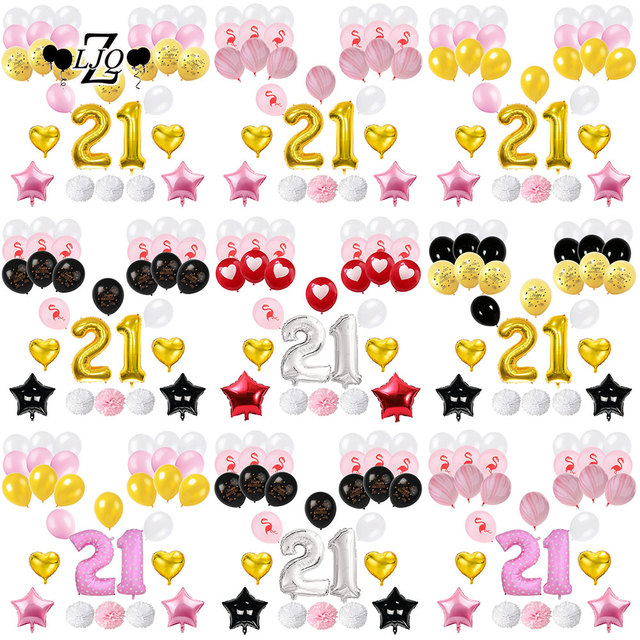 ZLJQ 21st Birthday Decoration Party Supplies Balloons Number 21 Old Year Black Pink Gold Flamingo Balloon Paper Flower Ball