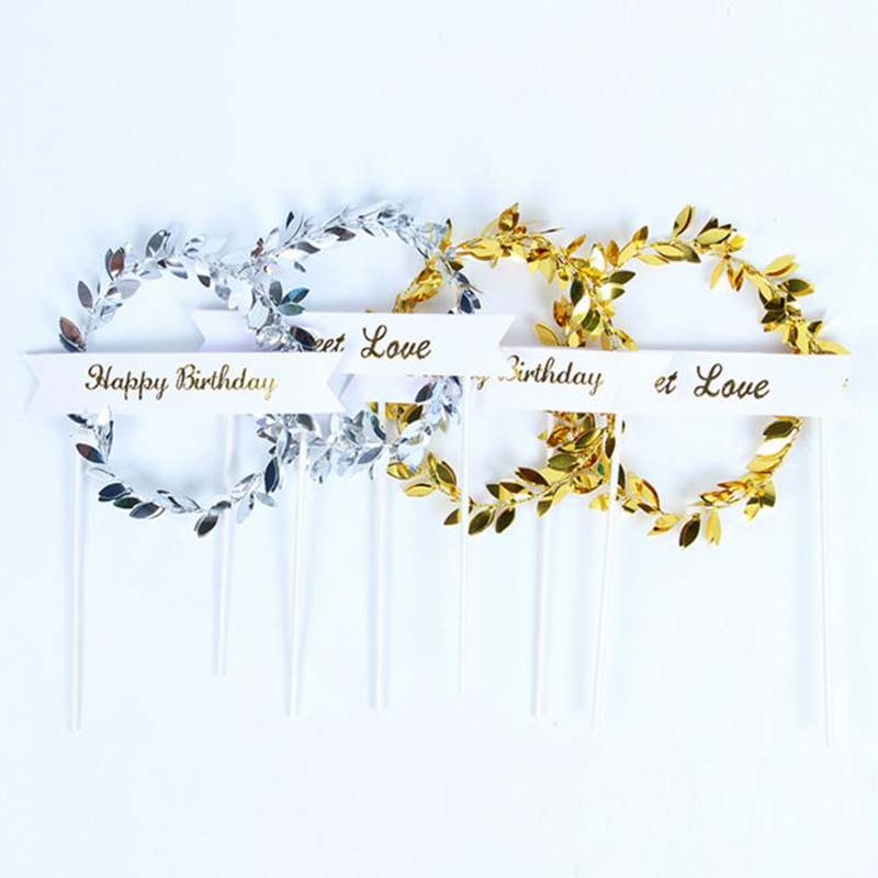 1 Pcs Hot Sale Twinkle Golden Silver Garland Happy Birthday Sweet Love Cake Topper Wedding Cake Decoration Supplies