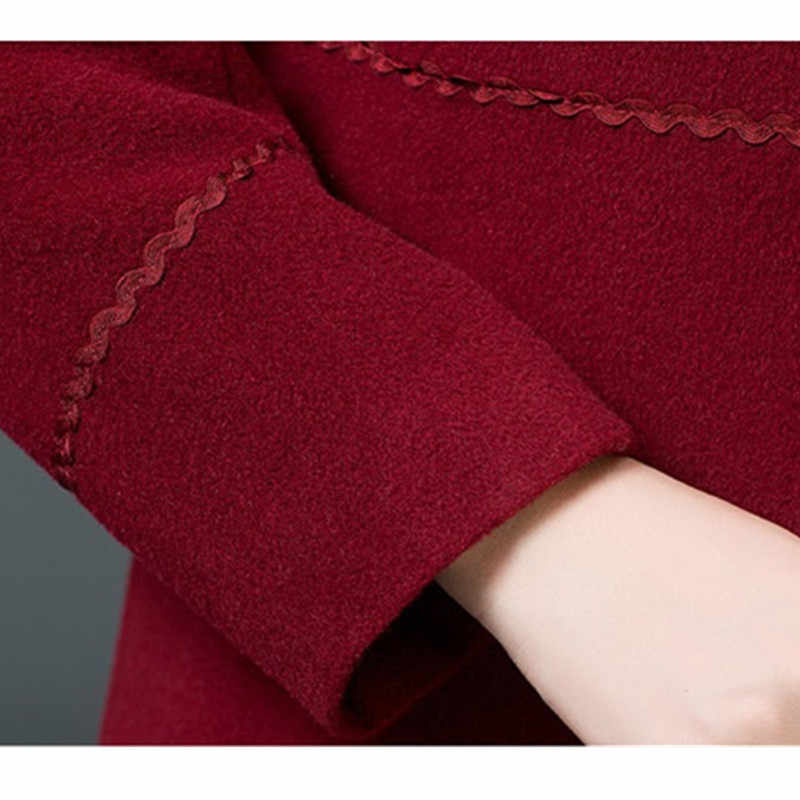 UHYTGF Winter Women's Woolen Coats 2018 Plus size Korean Autumn Coats for Womens long Jacket Coat Female Casual ladies coats 241