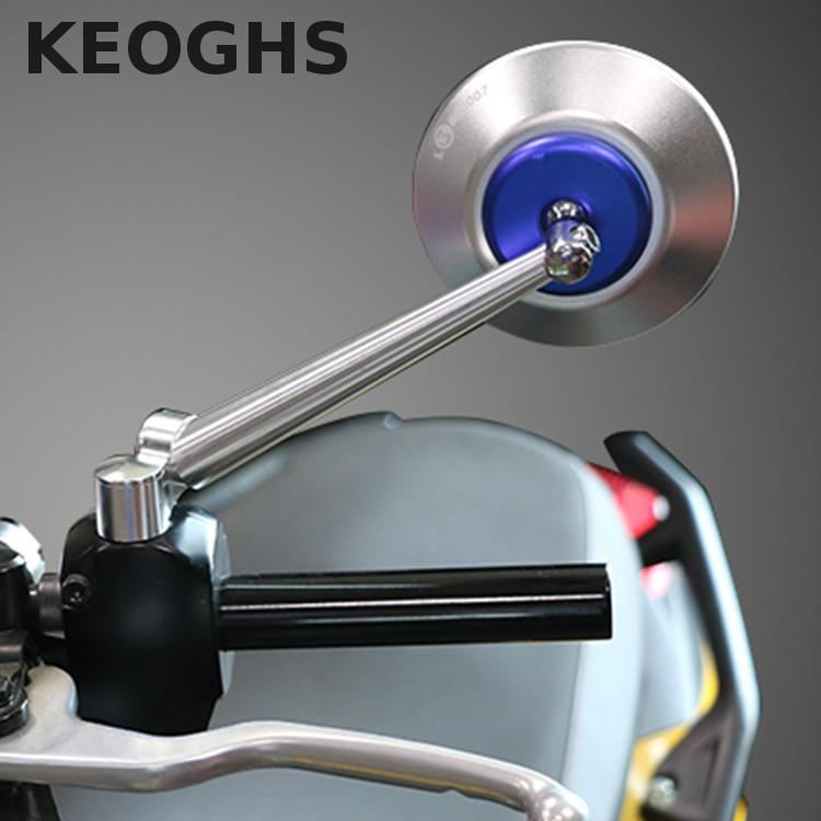 KEOGHS Free Shipping Aluminum Cnc Motorcycle Round Rear Side Mirrors Universal For Street Bike Sport Bike