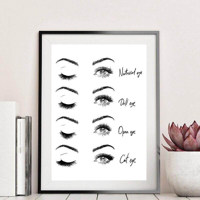 HTB1Y5wHaSSD3KVjSZFKq6z10VXa6 Modern Fashion Eyelash Extensions Prints Makeup Wall Art Canvas Painting Picture Nordic Poster Beauty Salon Decor Girls Gift