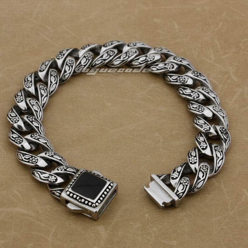 LINSION Solid 316L Stainless Steel Rose Flower Bracelet Mens Biker Link Chain 4R013 Free Shipping opk biker 316l stainless steel mens bracelet fashion sports jewelry bike bicycle chain link bracelet casual jewellery gs781