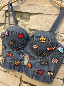 Image 4 - New Cowboy Hole Push Up Denim Bustier Crop Top Womens Ripped Sexy Cropped Feminino Strappy Bralette Bras Camis Tops Cropped