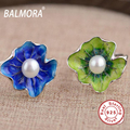 Nuevo 100% Real 925 Joyas de Plata de la flor de Loto de la hoja y de La Perla anillos para la Mujer Amante Anillo Mejor Regalo Del Banquete de Boda Lindo SY20945