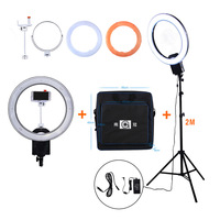 NanGuang CN R640 19 5600K Dimmable Camera Ring Video Light Lamp 640 LED Photography Photo Studio phone with Stand Mirror Bag