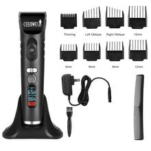 Ceenwes перезаряжаемый триммер для волос, машинки для стрижки для мужчин, беспроводные машинки для стрижки волос, набор для стрижки волос с 8 направляющими гребнями, включая зарядную док-станцию