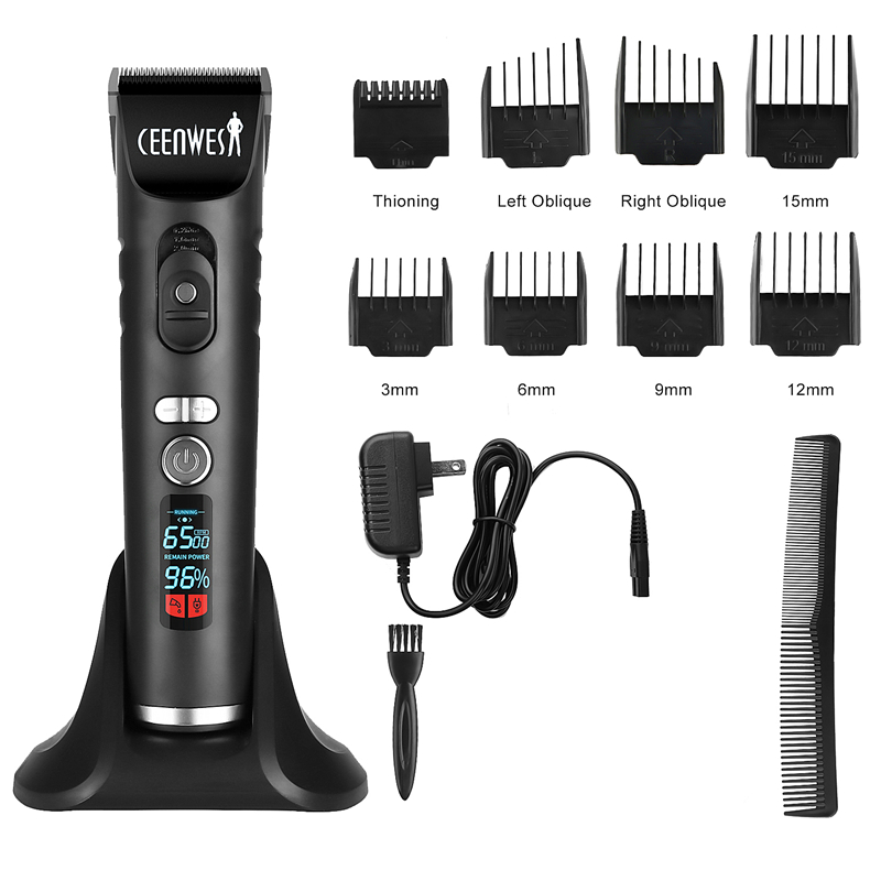 Ceenwes Rechargeable Hair Trimmer Clippers For Men Cordless Clippers Hair Cutting Kit With 8 Guide Combs Including Charging Dock