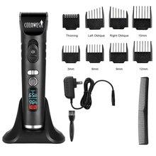 Ceenwes Şarj Edilebilir Saç Düzeltici Makası Erkekler için Akülü Makası Saç kesme kiti 8 Kılavuzu Tarak Dahil Olmak Üzere şarj standı