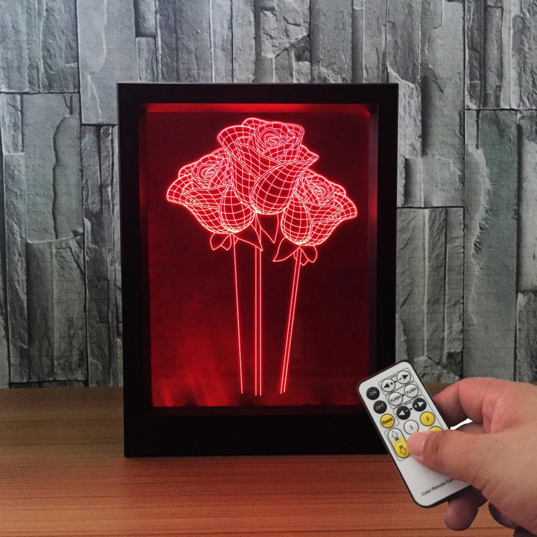 3D с рисунком Розы 7 цветов светодиодный Ночные огни творческий ночники День Святого Валентина творческий подарок Frame лампы с дистанционным ...