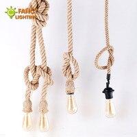 Vintage Rope Pendant Lamp E27 Retro Hanging Lights For Home Living Room Restaurant Decor Industrial Loft