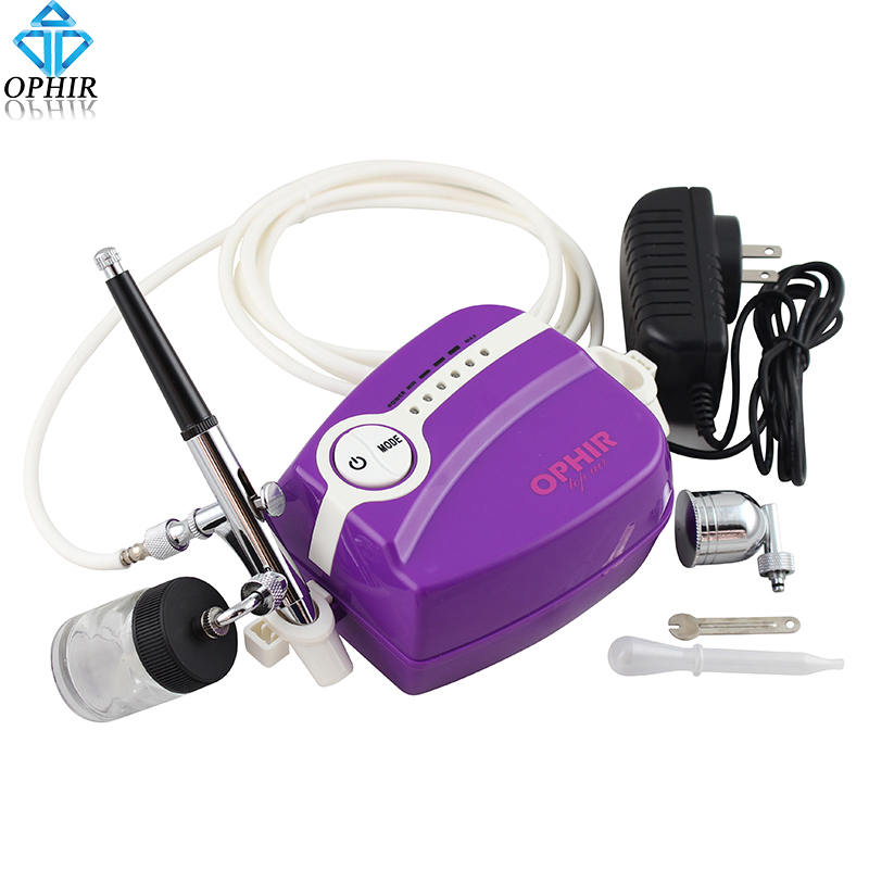 OPHIR Dual Action Airbrush Kit with Portable Mini Air Compressor for Model Hobby Body Painting Cake Decorating  #AC094W+AC005 ophir 0 4mm single action airbrush kit with 5 adjustable mini air compressor cake airbrush gun for makeup body paint ac094 ac007