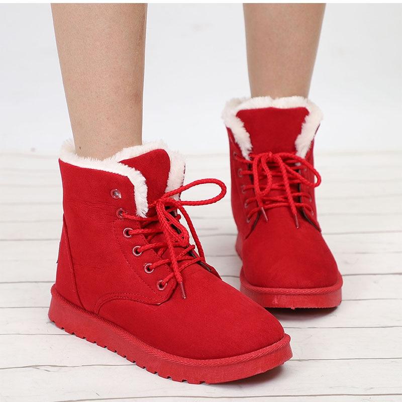 shop sale Snow Boots Winter Warm Flat Ankle Boots Lace Up Shoes