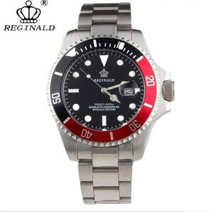 Image 1 - Homem relógio 2019 marca superior reginald relógio masculino esportes relógios rotatable moldura gmt safira vidro data aço inoxidável relógio presentes