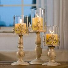 все цены на European-style home retro wrought-iron glass wedding candlestick crafts table wedding romantic candlelight dinner ornaments онлайн