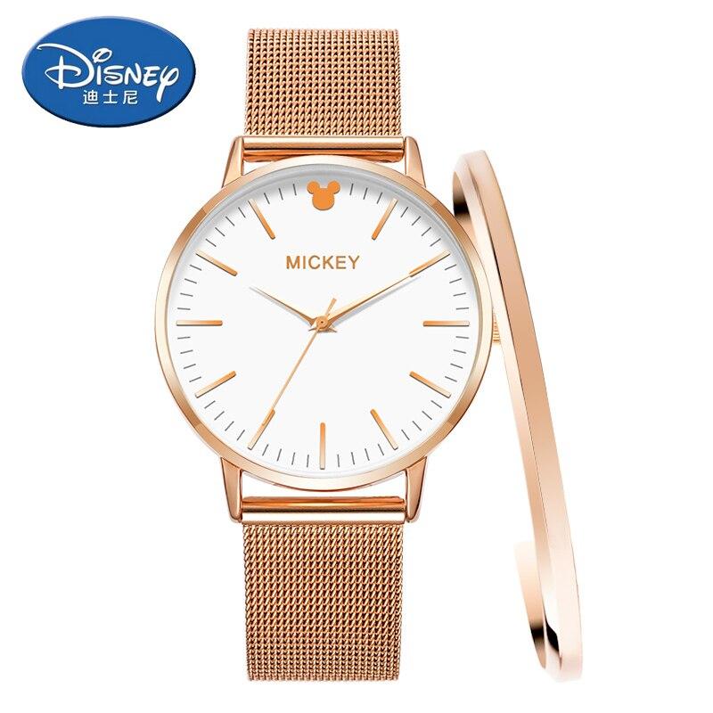 Disney Women Watches Luxury top Brand Stainless Steel watch Quartz Ladies Wrist Watches Women Clock