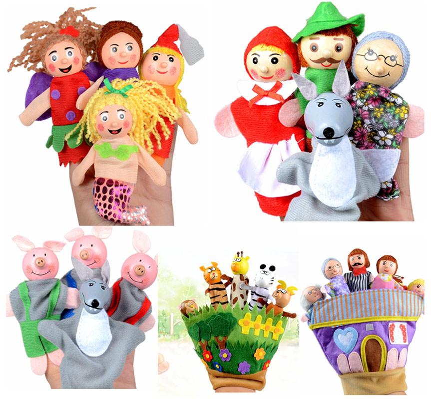 4PCS Faily Tale Finger Puppet Plush Toys Baby Kids Storytelling Appease Animal Gloves Puppets  Cartoon Puppets Toys for Children cute animals figure dolls finger puppets plush toys 10 pcs