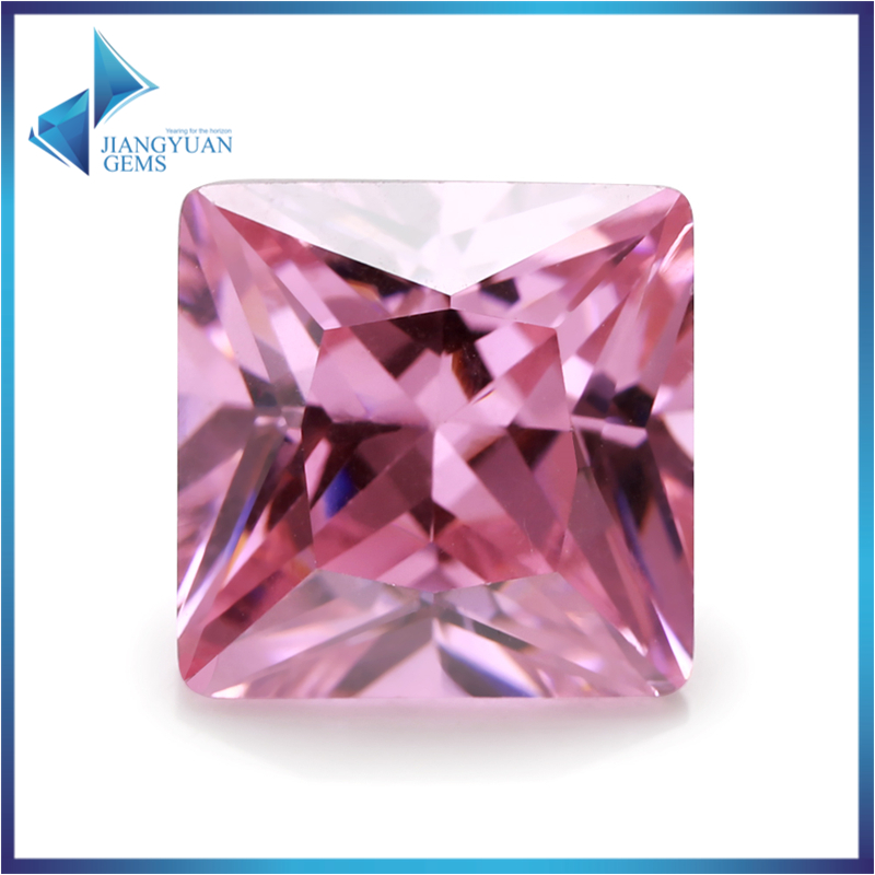 50Pcs Square Shape Princess Cut 5A A20 Pink Zirconia Stone 2x2-15x15mm Synthetic Gems CZ stone For Jewelry