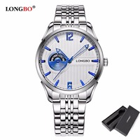 LONGBO Mens Wristwatches Fashion Brand Military Stainless Steel Date Calendar High Quality Alloy Waterproof Mens Watches