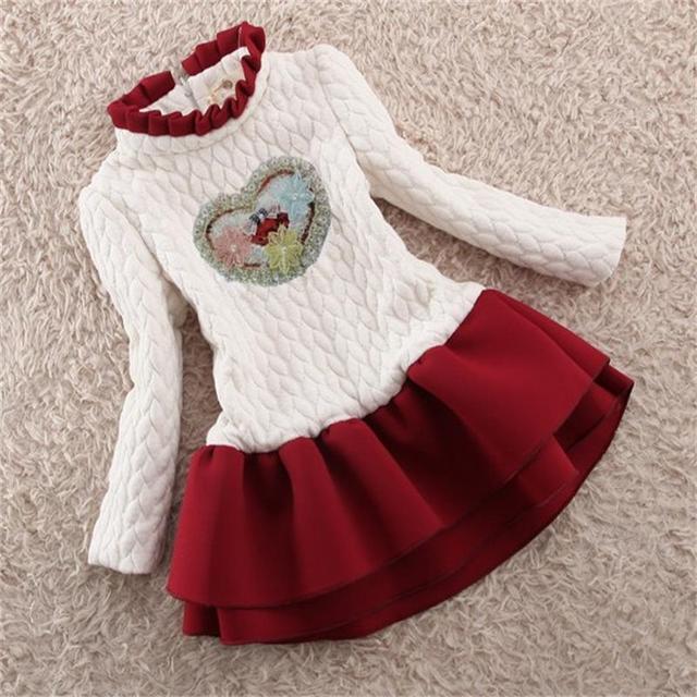 fa23520916fc 3 12T Winter girls dresses kids cotton velvet tutu long sleeve dress ...