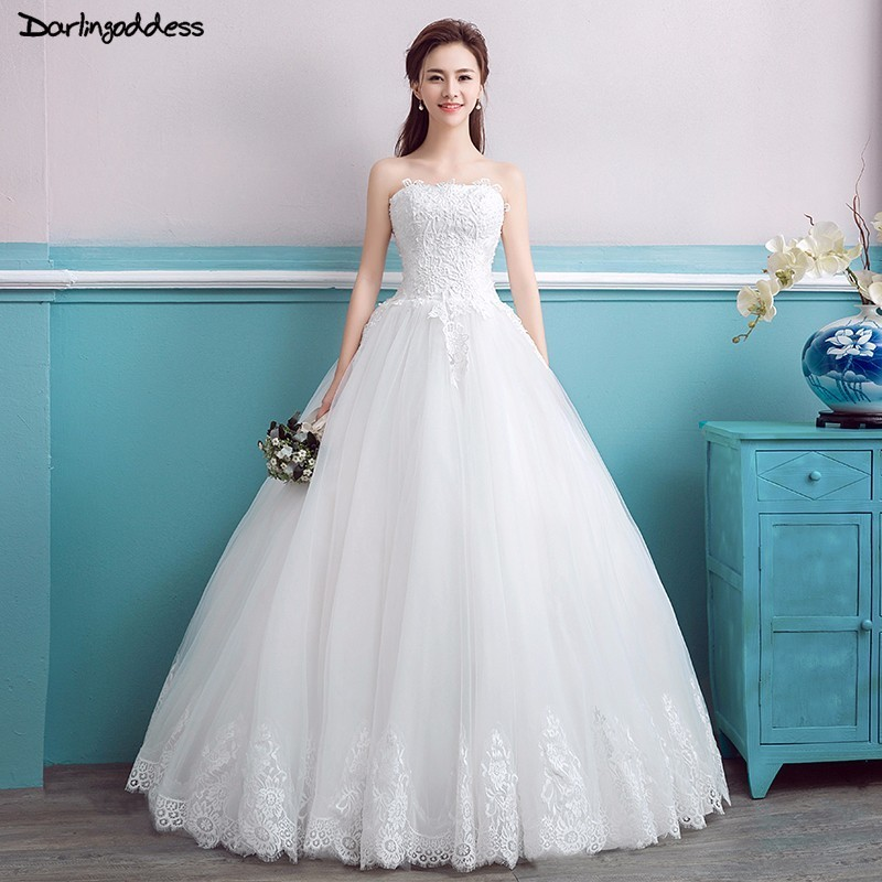 Cheap Plus Size Ball Gown Wedding Dresses: White Luxury Priness Ball Gown Wedding Dresses 2018