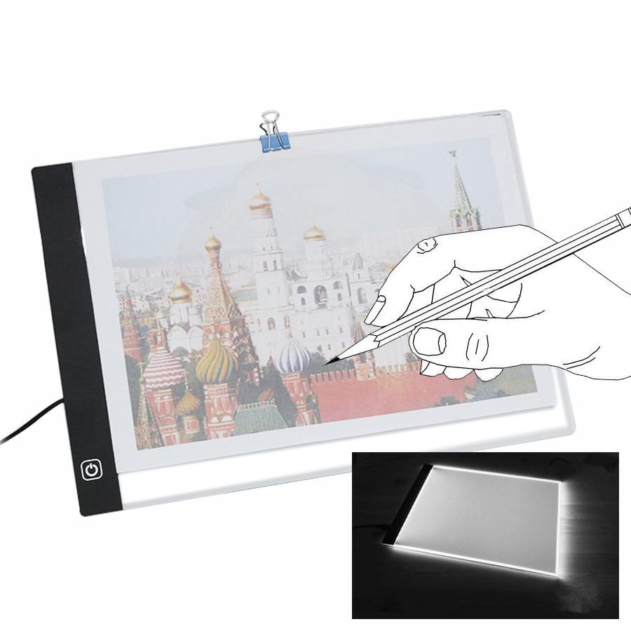 USB A4 LED Ultra Thin Art Facsimile Drawing Board Light Box Tracing Table Pad Artist Copy Desk Night Lighting Draw Stencil m way 35x23x0 52cm ultra thin pencil drawing table graphics tablet a4 led copy adjustable brightness tracing copyboard