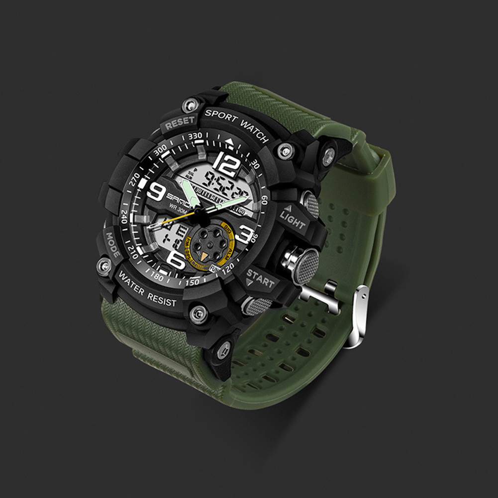 Digital Analog Dual Time Sport Watch Zones Calendar Chronograph Military Resin Wrist Watch Men 44