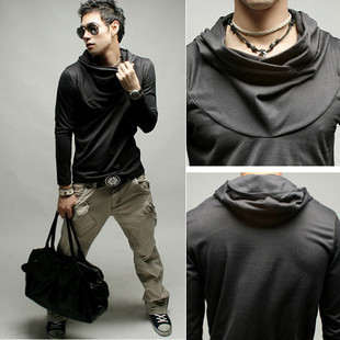 Smooth Milk Silk Fabric Fashion Leisure Rock Hip Hop Hooded Long Sleeved T shirt Men s