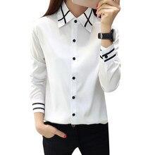 ecf0fafac8 Moda elegante mujeres pajarita blusa blanca Tops verano gasa manga larga  delgada turn Abrigos de plumas collar camisa Oficina da.