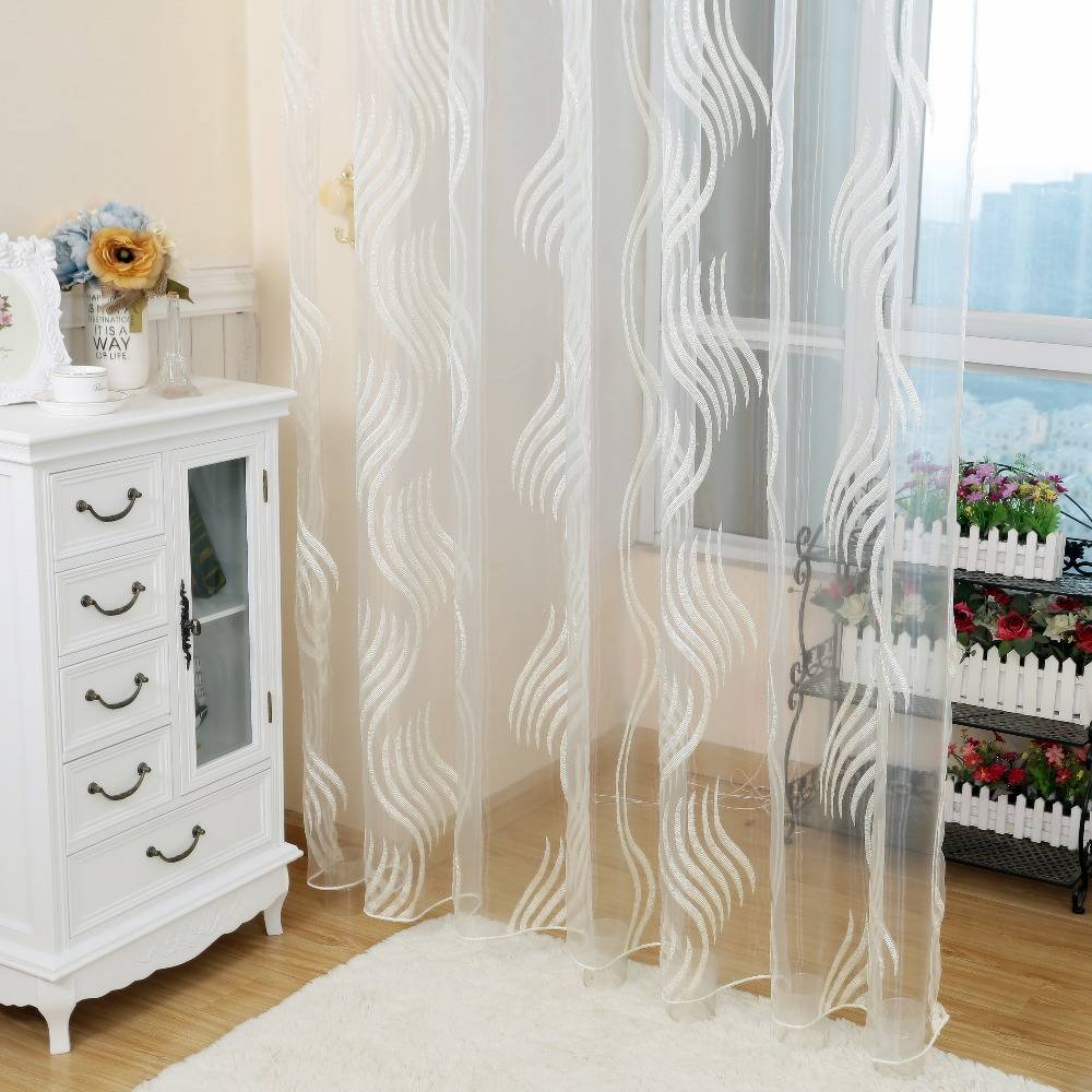 Designer sheer curtains - Striped Design Jacquard Rustic Voile Sheer Curtain Tulle For Bedroom Window Decoration China