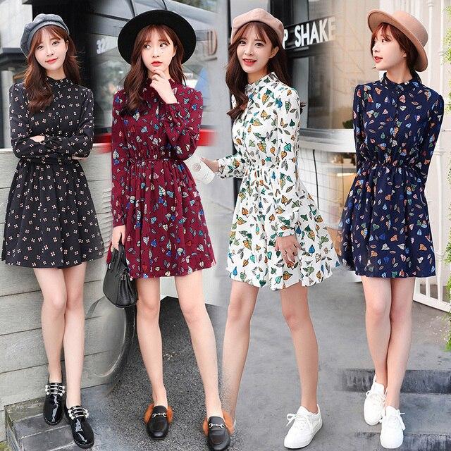 471097eea99f2 free shipping new spring summer Korean printed slim bottom casual autumn dress  fashion word long sleeve Floral Chiffon Dress