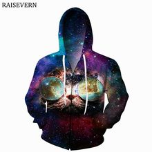 RAISEVERN Euro Size Cute Cat Sunglass Men Hoodies Sweatshirts 3D