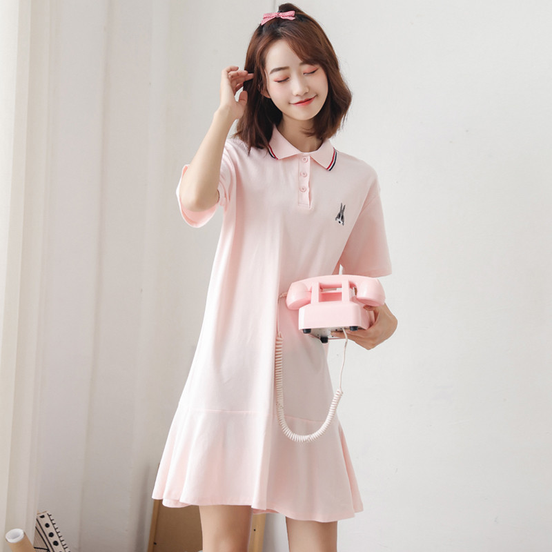 Youg 2018 Summer Dress Vestido De Festa Sweet Students Cartoon Character Embroidery Short Sleeve Polyester A-line Dresses