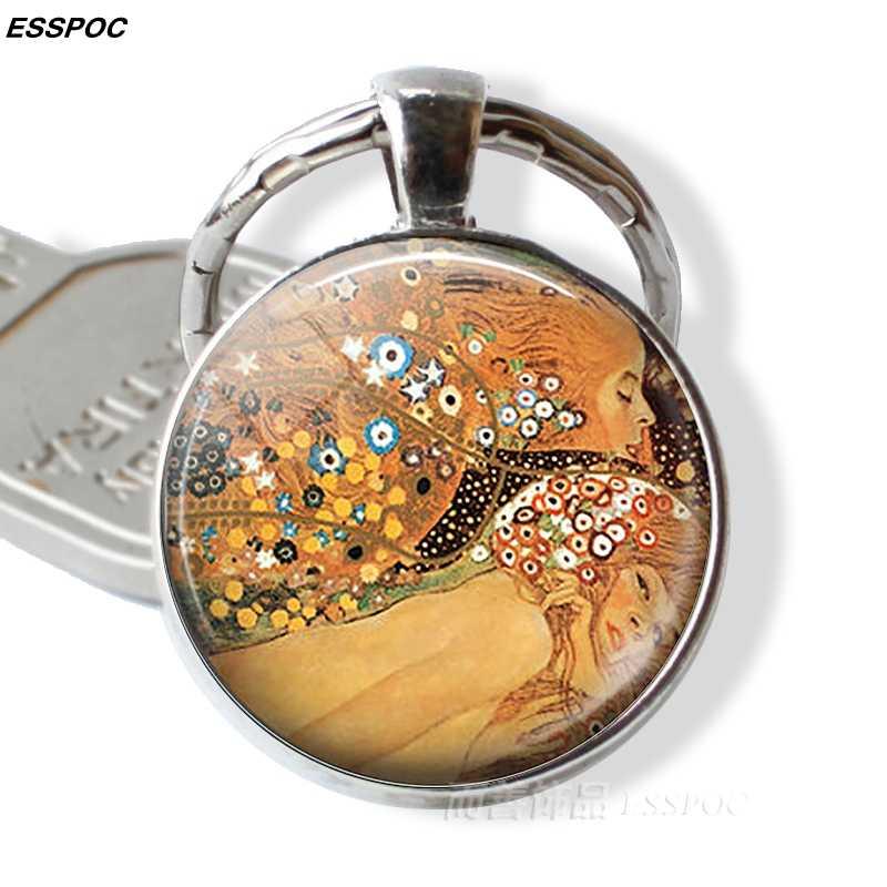 Gustav Klimt พวงกุญแจของ Klimt Kiss,Fulfillment,งูน้ำ,ต้นไม้, ฟาร์มสวนแก้วโดมโลหะ Key CHAIN สำหรับผู้หญิง