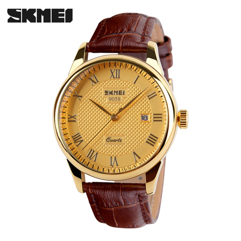 SKMEI Women Dress Watches Luxury Lovers Couple Watches Men Date Waterproof Women Leather strap Quartz Wristwatch Montre Homme Karachi