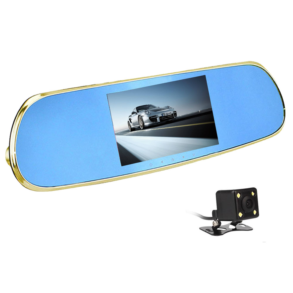 New 5 inch Android4.4 Car DVR rearview mirror camera dual lens 1080P dashcam 16GB GPS WIFI FM Bluetooth Video recorder 5 inch car camera dvr dual lens rearview mirror video recorder fhd 1080p automobile dvr mirror dash cam