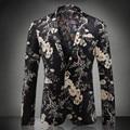 Estampado floral Partido Muesca Solapa Del Ocio Del Mens Blazers Moda Otoño Nueva Blazer Masculino Jaqueta masculina de Lujo