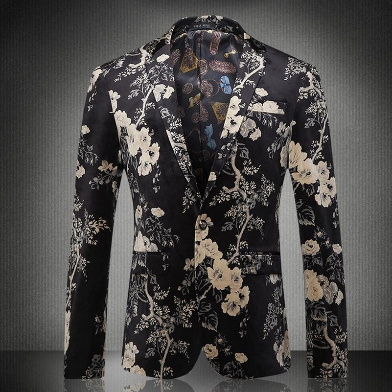 Floral Print Notch Lapel Mens Leisure Blazers Party Fashion Autumn New Jaqueta Masculina Fancy Blazer Masculino