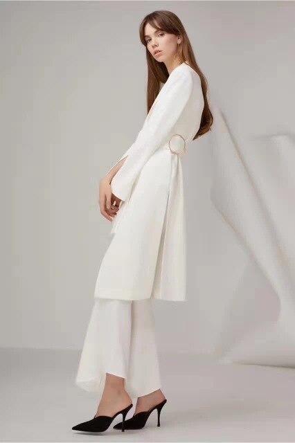 automne et hiver nouveau long manteau blanc et noir de. Black Bedroom Furniture Sets. Home Design Ideas