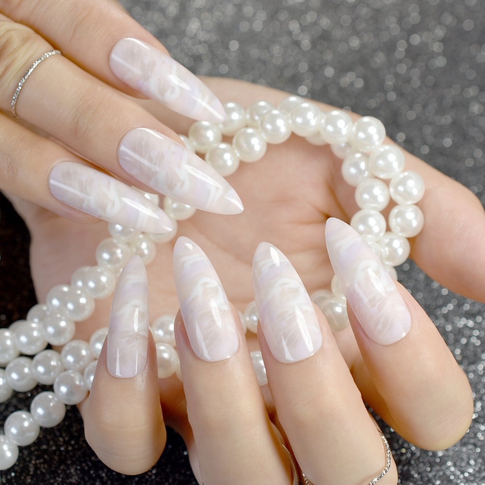 White Jade Marble Shell Stiletto False Nail Extra Long Sharp White