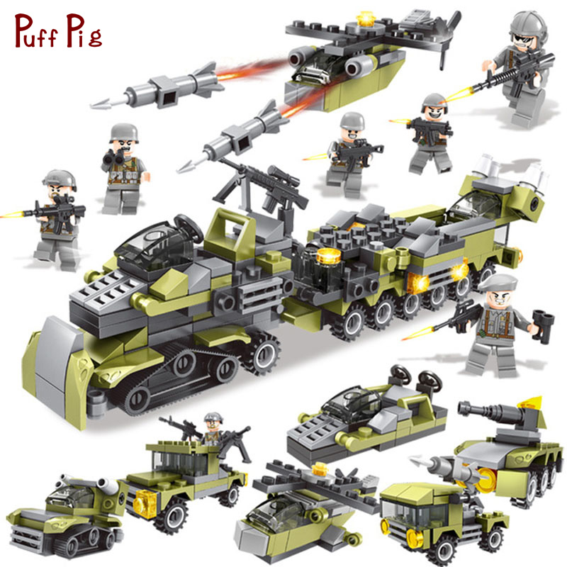 цена на 296pcs Military 6 in 1 Army Weapon Helicopter Truck Building Blocks Soldier Figures Compatible Legoed City WW2 Bricks Child Toys