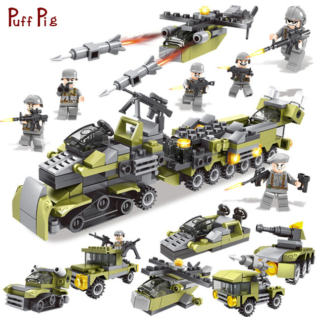 296pcs Military 6 in 1 Army Weapon Helicopter Truck Building Blocks Soldier Figures Compatible Legoed City WW2 Bricks Child Toys