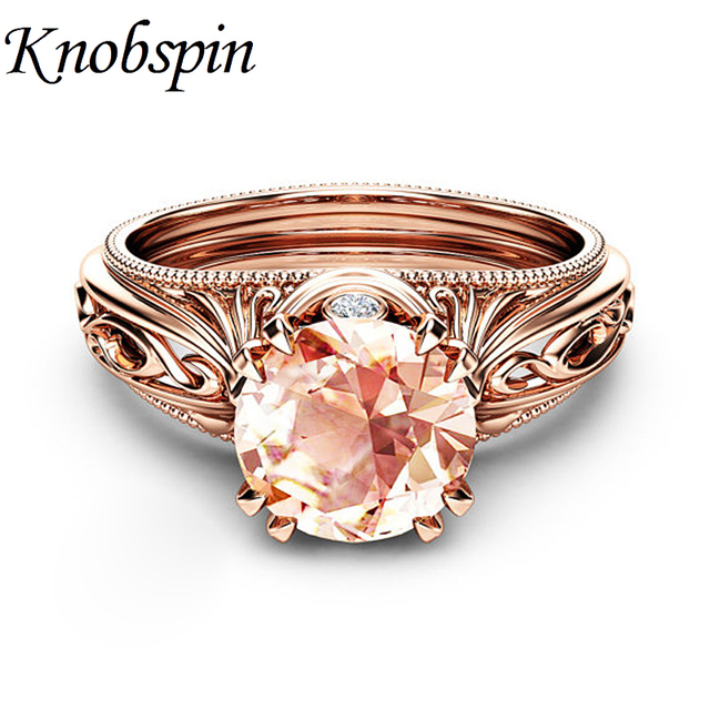 Fashion Women Party Jewelry Wedding Engagement Rings Plated Rose Gold Color Uniq