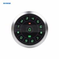 DIYSECUR Circular Metal 125KHz Rfid Card Reader Door Access Controller System Touch Panel Password Keypad Door Bell Button C80