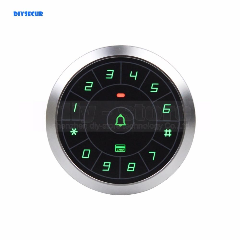 DIYSECUR circulaire métal 125 KHz Rfid lecteur de carte porte système de contrôleur d'accès panneau tactile mot de passe clavier porte cloche bouton C80