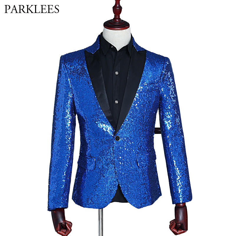 Men Blue Sequins Blazer Jacket 2018 Shiny Nightclub Single Breasted One Button Blazer Hombre Party Wedding Stage Singer Costume