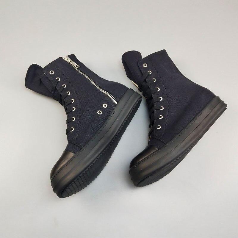 Повседневная мужская обувь из холстины; роскошные высокие кроссовки на шнуровке и молнии; Весенняя Мужская классическая черная Повседневная Брендовая обувь на плоской подошве - 4