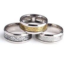 カーボンの結婚指輪ゴールドカラーシルバー 316L ステンレス鋼のメンズジュエリー卸売